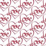 Vector Naadloos Patroon met Liefde het Van letters voorzien Royalty-vrije Stock Afbeelding