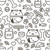 Vector naadloos patroon met lineaire snuit van kat en hond, goederen Stock Foto