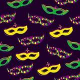 Vector naadloos patroon met maskers op donkere violette achtergrond Stock Afbeeldingen