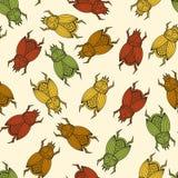Vector naadloos patroon met mestkevers Royalty-vrije Stock Fotografie