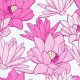 Vector naadloos patroon met mooie roze lotusbloembloem bloemen Stock Afbeelding