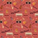 Vector naadloos patroon met muzikale instrumenten van de jazz de grote band royalty-vrije illustratie