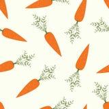 Vector naadloos patroon met oranje wortelen op witte achtergrond Plantaardig de zomerpatroon, kleurrijke druk voor ontwerp Royalty-vrije Stock Fotografie