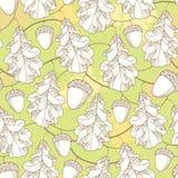 Vector naadloos patroon met overladen eiken bladeren, takken en eikels op de pastelkleur groene achtergrond stock illustratie