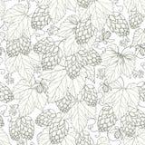 Vector naadloos patroon met overladen Hop met bladeren in zwarte op de witte achtergrond vector illustratie