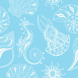 Vector naadloos patroon met overzeese dieren Stock Foto