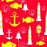 Vector naadloos patroon met overzeese elementen: vuurtorens, ankers, vissen, shell Kan voor behang, Web-pagina worden gebruikt Stock Afbeelding