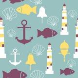 Vector naadloos patroon met overzeese elementen: vuurtorens, ankers, vissen, shell Kan voor behang, Web-pagina worden gebruikt Royalty-vrije Stock Foto's