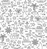 Vector naadloos patroon met overzeese weekendselementen een witte achtergrond stock illustratie