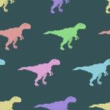 Vector naadloos patroon met pixeldinosaurussen Stock Foto