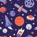 Vector naadloos patroon met planeten en sterren Stock Foto