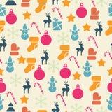 Vector naadloos patroon met retro Kerstmispictogrammen Stock Foto's
