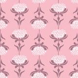 Vector naadloos patroon met retro stijlbloemen op roze achtergrond Bloemenkantachtergrond vector illustratie