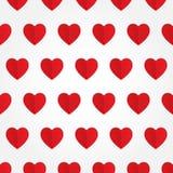 Vector naadloos patroon met rood hart in vlakte Stock Afbeeldingen