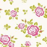 Vector naadloos patroon met roze rozen anf groene bladeren Royalty-vrije Stock Foto's