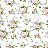 Vector naadloos patroon met rozen en fresia Stock Foto