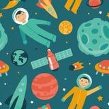 Vector naadloos patroon met ruimte en planeten Stock Fotografie