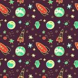 Vector naadloos patroon met ruimteraketten, planeten en sterren vector illustratie