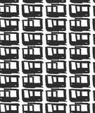 Vector naadloos patroon met ruiten Abstracte gemaakte achtergrond het gebruiken van borstelvlekken Zwart-wit hand getrokken textu Royalty-vrije Stock Fotografie