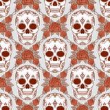 Vector naadloos patroon met schedels Stock Afbeelding
