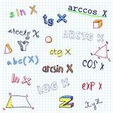Vector naadloos patroon met schetsmatige wetenschapssymbolen Royalty-vrije Stock Afbeeldingen