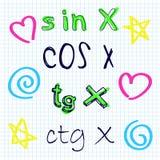 Vector naadloos patroon met schetsmatige wetenschapssymbolen Stock Foto