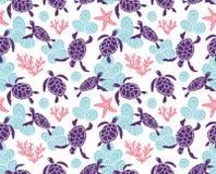 Vector naadloos patroon met sier oceaanschildpadden Blauw etnisch hand getrokken ontwerp vector illustratie