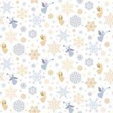 Vector naadloos patroon met sneeuwvlokken en engelen royalty-vrije illustratie