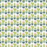 Vector naadloos patroon met succulente installaties en cactussen in po Royalty-vrije Stock Afbeeldingen