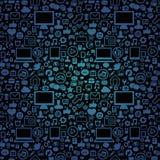 Vector naadloos patroon met technologiepictogrammen Stock Fotografie