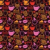 Vector naadloos patroon met thee en koffiekoppen Stock Foto's