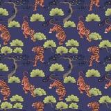 Vector naadloos patroon met tijgers in Japanse stijl De tekening van de hand Decoratieve achtergrond voor ontwerp royalty-vrije illustratie