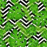 Vector naadloos patroon met tropische bladeren op abstracte witte zwarte geometrische zigzagachtergrond Leuke helder en pret vector illustratie