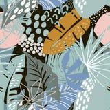 Vector naadloos patroon met tropische installaties en hand getrokken abstracte texturen stock illustratie
