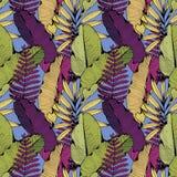 Vector naadloos patroon met tropische takken en bladeren De tekening van de hand Decoratieve achtergrond voor ontwerp vector illustratie