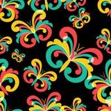 Vector naadloos patroon met veelkleurige vlinders op zwarte bac Royalty-vrije Stock Foto's