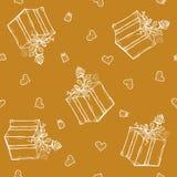 Vector naadloos patroon met verjaardagsgroeten en harten Gouden achtergrond voor gift het verpakken de doos, lint, nam toe Royalty-vrije Stock Fotografie