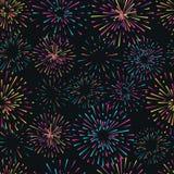 Vector naadloos patroon met verschillend kleurrijk vuurwerk Royalty-vrije Stock Foto's