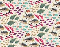 Vector naadloos patroon met verschillende kleurrijke exotische vissen stock illustratie