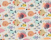 Vector naadloos patroon met verschillende kleurrijke exotische vissen vector illustratie
