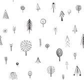 Vector naadloos patroon met verschillende symboolbomen, etnische stijl Stock Foto's