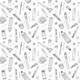 Vector naadloos patroon met verschillende tekeningshulpmiddelen royalty-vrije illustratie