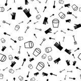 Vector naadloos patroon met verschillende tuinvoorwerpen royalty-vrije illustratie