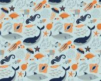 Vector naadloos patroon met vissen en overzeese dieren stock illustratie