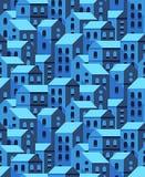 Vector naadloos patroon met vlakke stijlhuizen Stock Foto