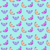 Vector naadloos patroon met vlinders op een blauwe achtergrond stock fotografie