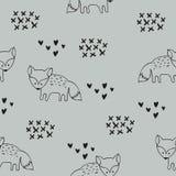 Vector naadloos patroon met vossen Decoratieve achtergrond voor ontwerp van een kinderen` s ruimte en kleren stock illustratie