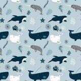 Vector naadloos patroon met walvissen Herhaalde textuur met mariene zoogdieren vector illustratie