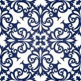 Vector naadloos patroon met wervelingen en bloemenmotieven in retro stijl. Royalty-vrije Stock Foto's
