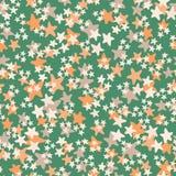 Vector naadloos patroon met witte, oranje, beige sterren op groene achtergrond Druk van de pret de ditsy ster, constellaties en vector illustratie